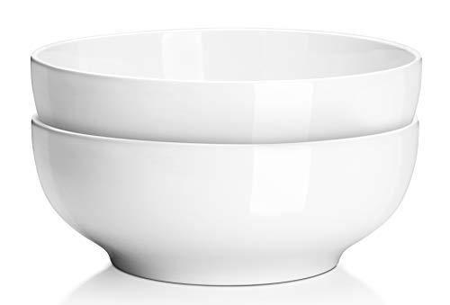 (2 Packs) DOWAN 2.5 Quarts Porcelain Serving Bowls, Salad Bowls, Pasta Bowl Set, White, Stackable