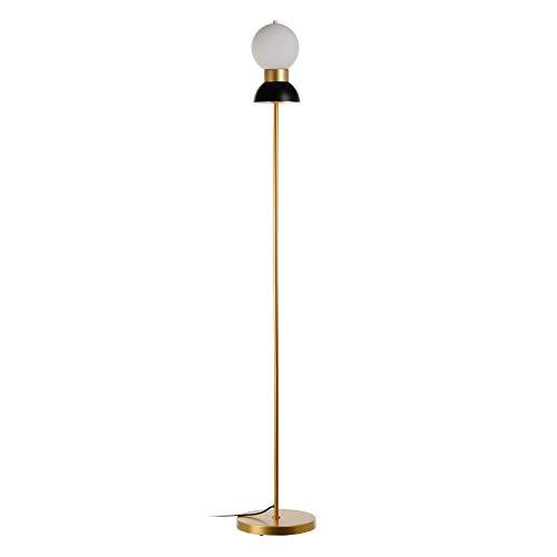Lámpara de pie bola de metal y cristal blanca y negra de Ø 24x158 cm - LOLAhome