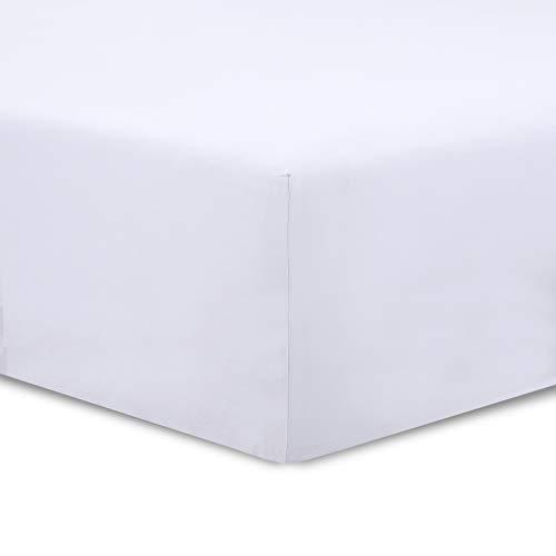 VISION Drap housse Blanc - 160 x 200 cm - 100% coton