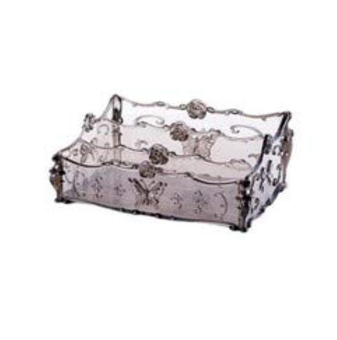 学生割り当て普通にフラワー彫刻デスクトップ化粧品収納ボックス化粧台透明ラック家庭用プラスチックマルチカラースキンケア製品仕上げボックス (Color : Transparent gray)