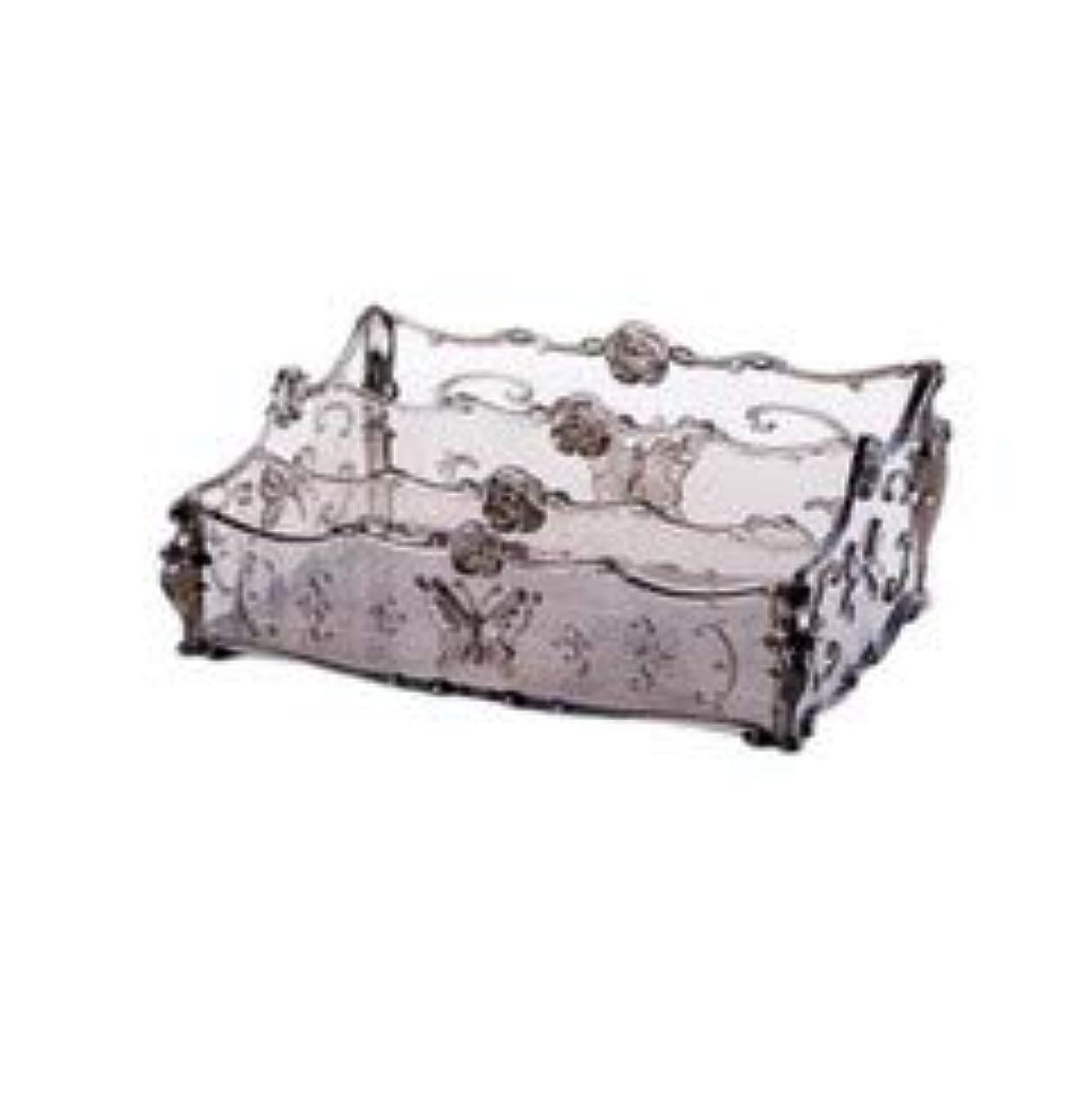 こどもの日カートリッジ多年生フラワー彫刻デスクトップ化粧品収納ボックス化粧台透明ラック家庭用プラスチックマルチカラースキンケア製品仕上げボックス (Color : Transparent gray)