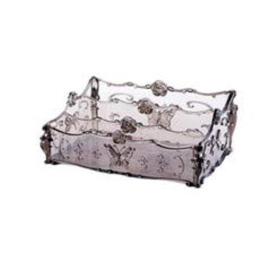 二度保守可能透けて見えるフラワー彫刻デスクトップ化粧品収納ボックス化粧台透明ラック家庭用プラスチックマルチカラースキンケア製品仕上げボックス (Color : Transparent gray)
