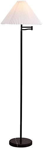 BESTPRVA Nordic Lámpara LED de mármol Base de pie con lámpara vertical plisado pantalla de la tela de lujo Lámpara de pie for sala de estar Dormitorio