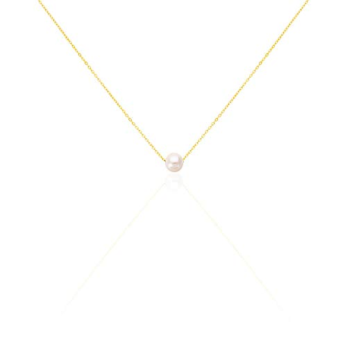 Rendez-vous RueParadis Paris - Collar Con Colgante'Pearl' - Perla Cultivada - Oro Amarillo 9 Kilates (9k) 375 - Joya De Mujer Exquisita - Rebajas De Verano