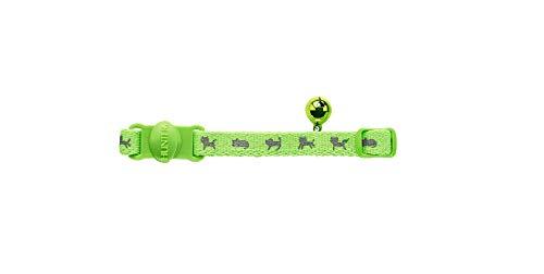 HUNTER NEON Katzenhalsband, Nylon, reflektierend, Sicherheitsverschluss, Glöckchen, grün