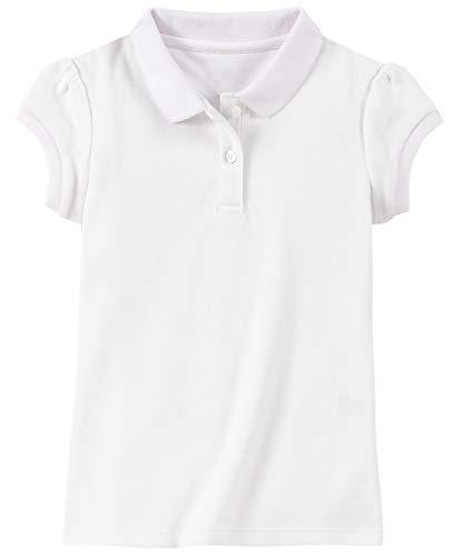 Chaps Girls' School Uniform Short Sleeve Interlock Polo, White, 7