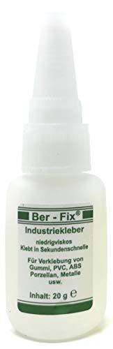 Ber-Fix® 20g Industriekleber Dünnfüssig kapillar - Innovativ mit der Nadel im Verschluß Vielseitig Kunststoff, ABS, PVC. GfK. PLA lange Lagerbar