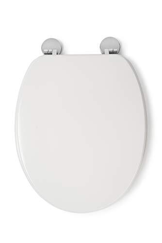 Croydex Flexi-Fix Kielder Always Fits Never Slips Anti Bacterial Toilet Seat, Wood, White, 45 x 37.5 x 6 cm