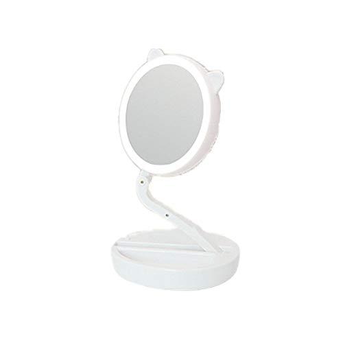 ECOSWAY Pli Portable Coiffeur Type LED Emplir Lumière Maquillage Miroir, 360° Rotatif 1X/7X Magnifiant Double Face Salle de Bain, Chambre à Coucher, Voyage Sac n'importe Où Miroir Cosmétique - Blanc