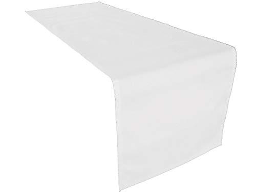 Hochwertiger Tischläufer aus Baumwolle. Tischtuch, Tischdecke. Große Auswahl an Farben. (Weiss)