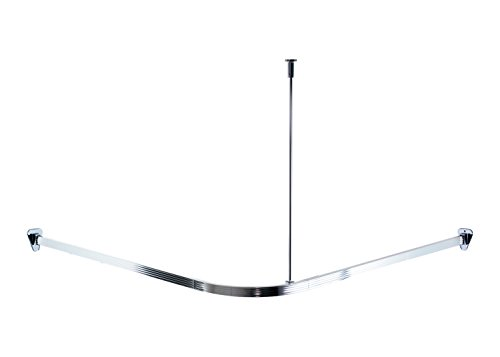 RIDDER 52500 Duschvorhangschiene, Duschvorhangstange, ca. 90 x 90 x 90 cm, Aluminium, verchromt