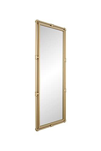 DIREKTE IMPORT Espejo de pared rectangular con marco de metal dorado (140 x 52 x 3 cm) | Espejo de pared para cuarto de baño, vestidor o sala de estar | diseñado en Dinamarca.