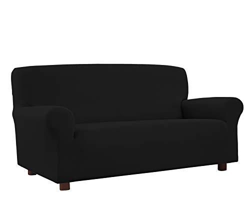 Banzaii Funda Sofa 4 Plazas Negro – Elastica Antimanchas – Extensible de 200 a 260 cm - Made in Italy