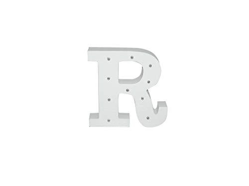 Letra blanca decorativa con luz LED blanca (madera) (R)