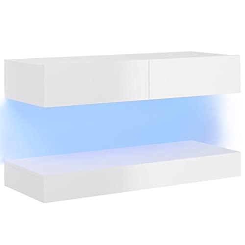 vidaXL Mueble para TV con Luces LED Soporte Armario Aparador Estante Salón Sala de Estar Decoración Entretenimiento Blanco Brillante 90x35 cm