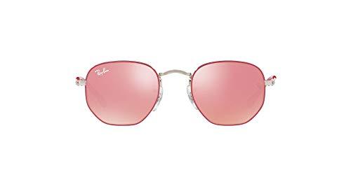 Ray-Ban Junior RJ9541SN - anteojos de sol hexagonales para niños, Silver Top Fuxia/Pink Mirror, 44 mm
