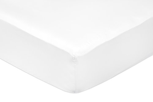 Amazon Basics Fitted Sheet, Blanco, 150 x 200 x 30 cm