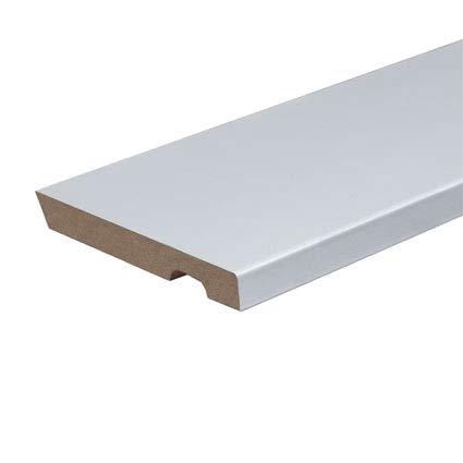 Rodapie lacado en blanco canto recto de 12cm de altura x 1,4 cm de grosor x 244cm de largo