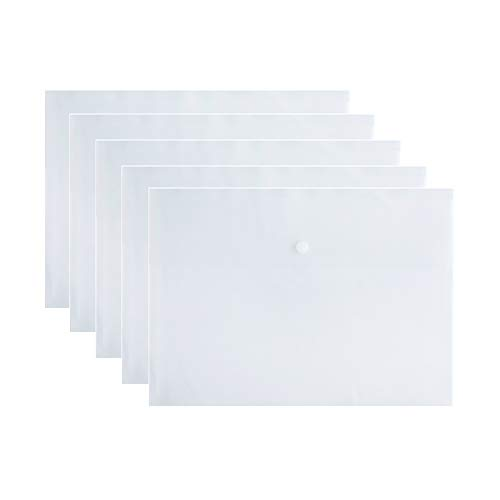 VANRA? スナップフォルダ プラスチック封筒 ファイルフォルダーオーガナイザー ポケット ドキュメントレター A4レターサイズ ボタン留め オフィス 防水 5パック 4色