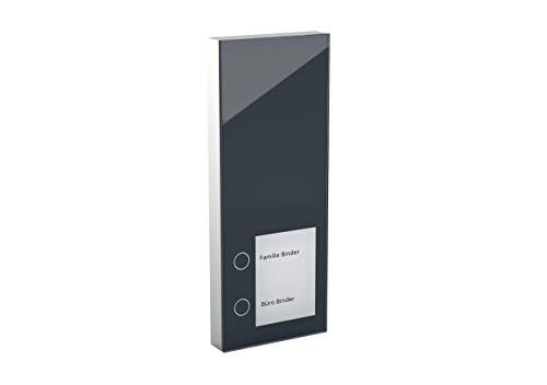DoorLine Slim Dect Anthrazit Türsprechanlage, Klingel, Türöffner anschließbar, Haustelefon und Handy als Gegensprechanlage Anschluss a/b 2-Draht, Aufputz auf Standard Unterputzdose