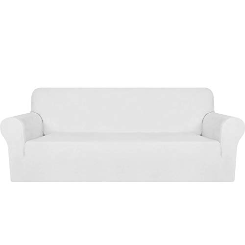 MAXIJIN Thick Velvet Sofa Covers 3 Seater Super Stretch Non Slip Couch Cover for Dogs Cat Pet Friendly 1-Piece Elastic Furniture Protector Plush Sofa Slipcovers (3 Seater, White)