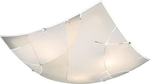 Globo Decken Lampe Leuchte Metall Chrom Weiß Glas Beleuchtung Dekorlinien Wohn Zimmer, 40403-3