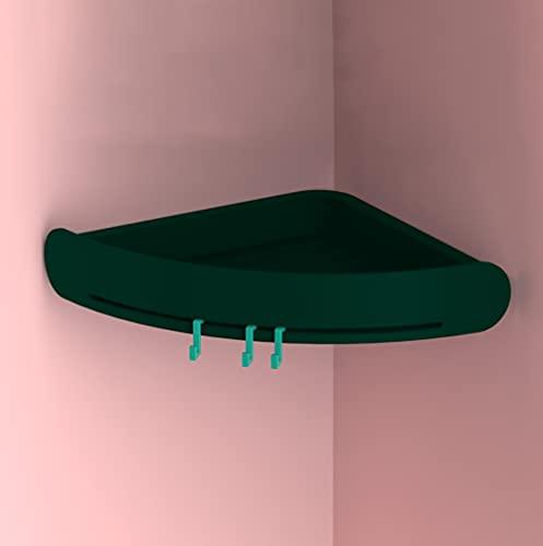 Angou Estantería para cuarto de baño, cesta de ducha, estante de esquina, cesta de ducha, sin agujeros, con gancho, para ducha, estante de baño, autoadhesivo para baño y cocina (verde oscuro)