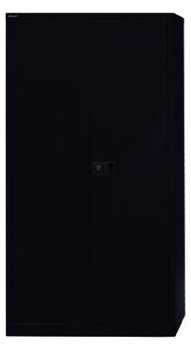 BISLEY Aktenschrank   Werkzeugschrank   Flügeltürenschrank aus Metall abschließbar inkl. 3 Einlegeböden   (Schwarz)