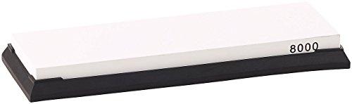 TokioKitchenWare Schleifstein Set: Wasser-Schleifstein für Messer, mit rutschfestem Halter, Körnung 8000 (Schleifsteine Damast-Messer)