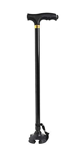 Vetrineinrete® Bastone quadripode a 4 piedi con luce led stampella regolabile da passeggio per anziani regolabile B52