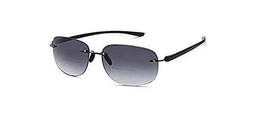 VVDQELLA Gafas de sol bifocales 2,5 mujeres para hombre Lentes sin montura Gafas Bloqueador UV con lentes progresivas tintadas (2.5X)