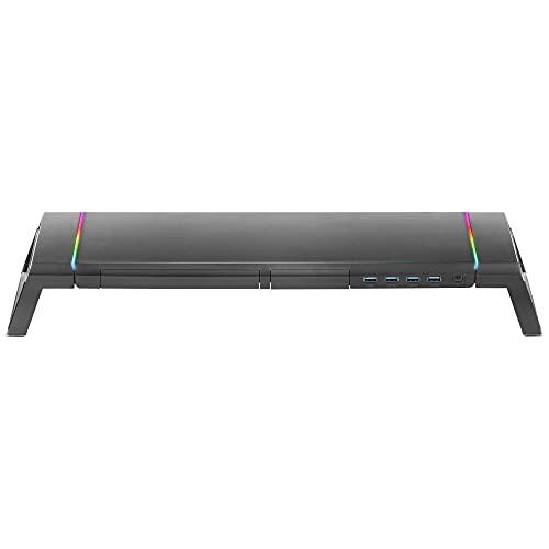 MARSGAMING MGS, Soporte Monitor RGB, Longitud Ajustable, Soportes Extra, USB 3.0