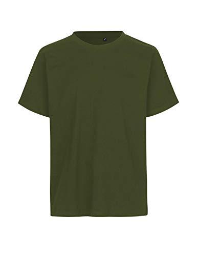 Green Cat- Regular T-Shirt, 100{bd1fff2f78de169efdc318e844c15110c487b3ddf974926394c155aa994a5ed0} Bio-Baumwolle. Fairtrade, Oeko-Tex und Ecolabel Zertifiziert, Textilfarbe: Oliv, Gr.: L