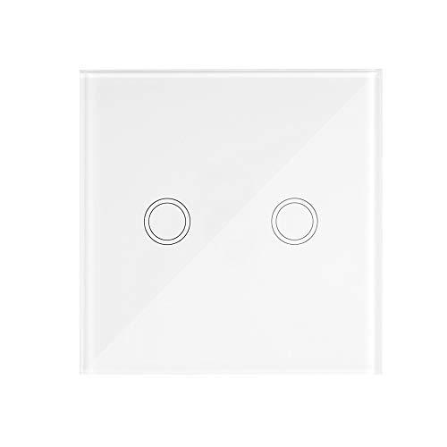 Extaum Smart Wall Touch Light Switch Wireless RF eWeLink 2CH T433 86 Portatile Supporta Tutti i Prodotti SONOFF RF 433MHz per Il Controllo della Luce Scale, 2 Gang