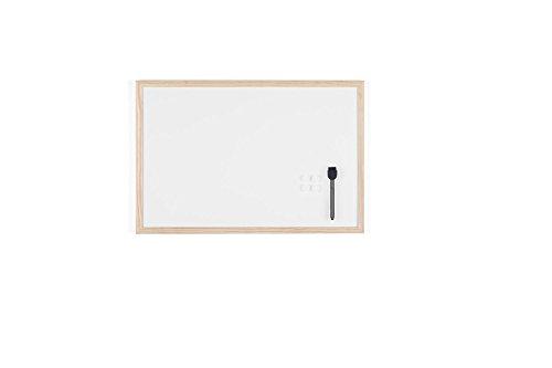 Bi-Office Lavagna Bianca Budget Con Cornice In Legno, Superficie Speciale Cancellabile A Secco, 600 x 400 mm