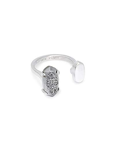 Kendra Scott Pryde Open Ring Size M/L Fashion Jewelry, Rhodium-Plated, Platinum Drusy, Medium