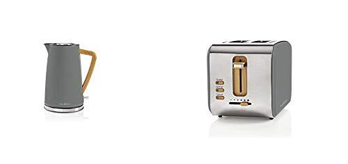 Nedis Elektrischer Wasserkocher, 1,7 l, weich, Grau & Toaster - 2 breite Öffnungen - Soft-Touch - 6 verschiedenen Stufen - Auftau- und Aufwärmfunktion - Krümelschublade - 900 W - Grau