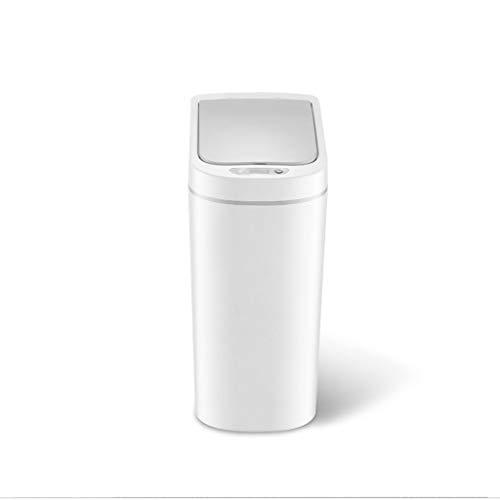 Xiaoli Cubo de Basura Bote de Basura Inteligente de inducción Hogar Cocina Baño Inodoro Bote de Basura Blanco a Prueba de Agua 7 litros Papeleras