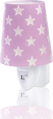 Dalber Stars Lámpara Infantil Luz Nocturna Quitamiedos Estrellas Enchufe Led, 0.3 W, Malva Lila