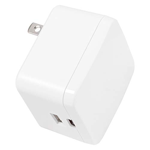 GE 15W USB-C Wall Charger, for Iphone 11/Pro/Max/XS/XR/X/8, Ipad Pro/Air/Mini, Samsung Galaxy S10/S9/Plus, Google Pixel C/3/2/XL and More, 22.5W USB-C & USB Total Power, Foldable Prongs, White, 39931