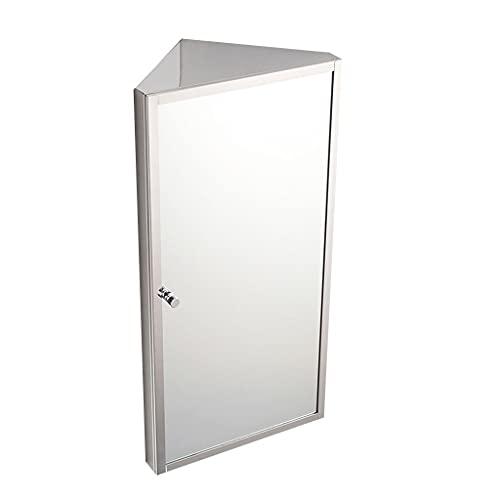 Armadietti a specchio Mobili da Bagno Armadietto in Acciaio Inox con Specchio Specchiera da Bagno Triangolare Mobile ad Angolo per WC Angolo salvaspazio Specchio Argento HD