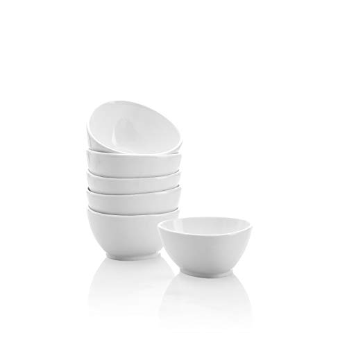 Kanwone Porcelain Dessert Bowls - 10 Ounce Small bowls for Side Dishes, Microwave and Dishwasher Safe Bowls - Set of 6, White