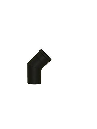 LANZZZAS Pellet pellet rookpijp pelletkachel pijp 45° boog eenmaal gebogen zonder reiniging Kleur zwart Ø 80 mm