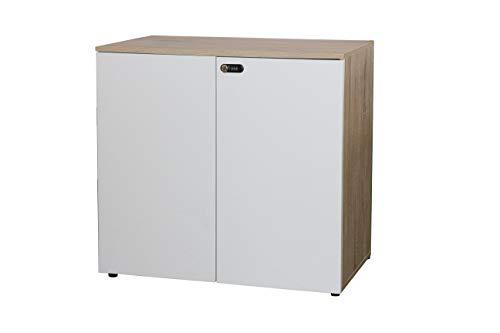 Happy Home Schrank mit Zahlenschloss Büroschrank Aktenschrank Büromöbel Weiß, Holz / B80 x T40 x H75 cm