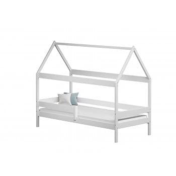 Children's Beds Home - Cama individual en forma de casa con dosel - Teddy - Cama individual - Teddy - 160x80, blanco, ninguno, colchón de espuma de alta resistencia de 12 cm