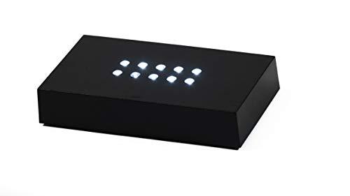 Socle Lumineux Noir à Leds Blanches 110X60X20mm Pour Gravure 3D dans le verre