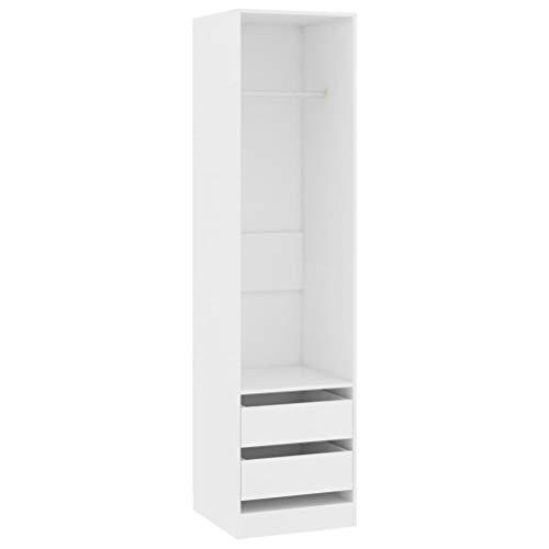 vidaXL Armario con Cajones de Aglomerado Casa Hogar Bricolaje Decoración Diseño Mobiliario Mueble Ropero Taquilla Guardarropa 50x50x200 cm Blanco