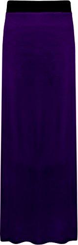 WearAll - Damen Übergröße Elastisch Stretch Maxi Rock in Voller Länge - Violett - 44-46