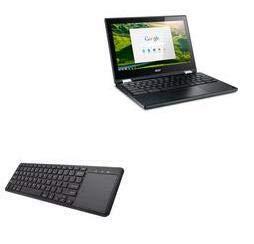 Acer Chromebook R11 Keyboard, BoxWave [MediaOne Keyboard with TouchPad] USB Fullsize Keyboard PC Wireless TrackPad for Acer Chromebook R11 - Jet Black