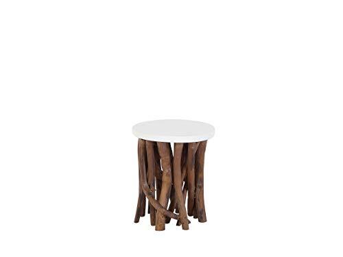 Houma salontafel van hout met plaat wit